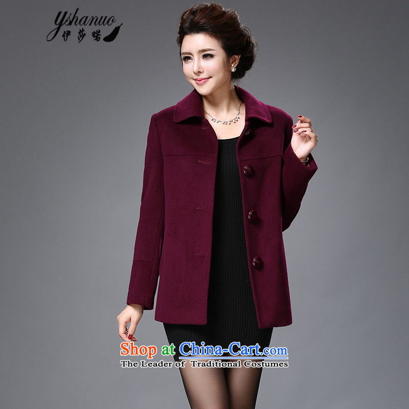 Isabel La Carconte 2015 autumn and winter in the new elderly women is simple and stylish wool a female Korean jacket, dark purple YS1513 short M