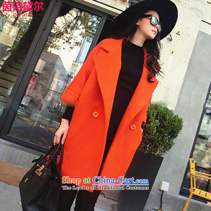 Athena Chu poetry, gross? 2015 Women's jacket coat Fall_Winter Collections of new gentle lady of Korea fashion, long a wool coat 3909 red-orange L