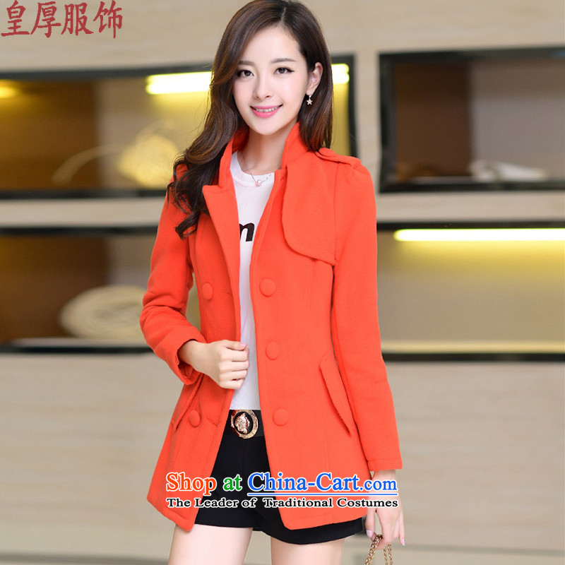 Not thick clothes for autumn and winter by the new 2015 gross girls jacket? Long Korean video thin hair so Sau San coats female orange燣
