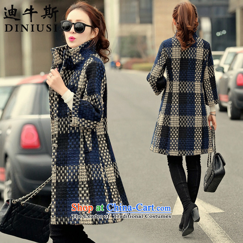 The achievement of the2015 autumn and winter new Korean fashion in the Sau San Long Seven-sleeved gross? coats navyM