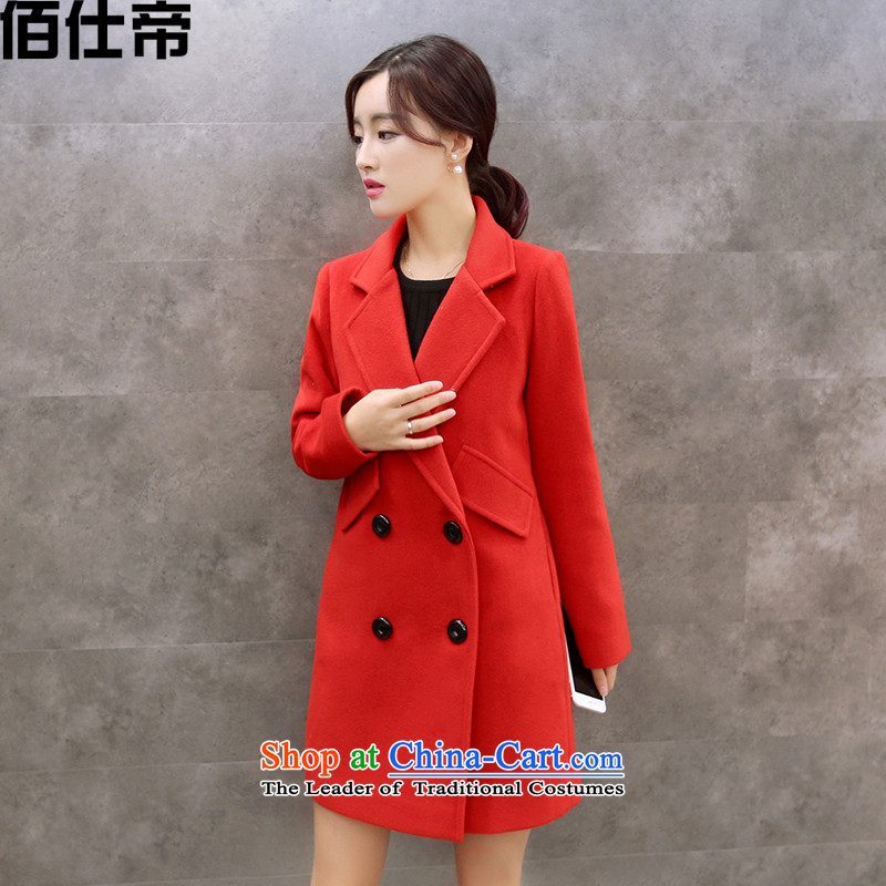 Bai shi di�15 new coats female Gross Gross?? In Korean jacket Long Hoodie Sau San RED� M