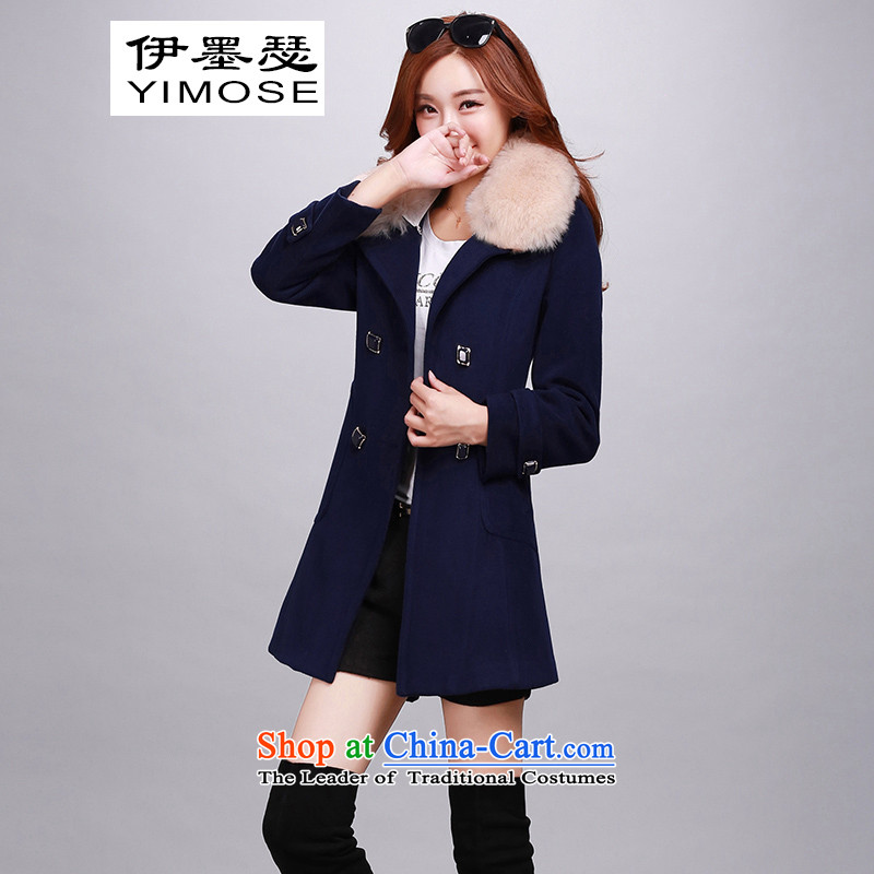 El ink Joseph�15 new gross? female Korean jacket coat in the long hair?_? a wool coat Connie sub-jacket for autumn and winter navy with emulation gross collar燲XL