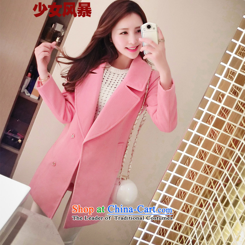 Teenage girls in turmoil? coats of autumn and winter new Korean version of Sau San Connie sub-coats female Stylish coat women? gross light pink thick M