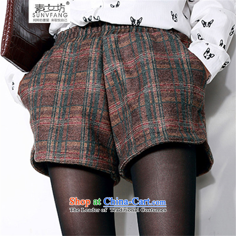 Motome square thick sister larger autumn and winter wild shorts 2015 autumn and winter to xl elastic waist latticed gross a shorts are the 5222 recommendation of the brown checkered 5XL weight 180-210 catty