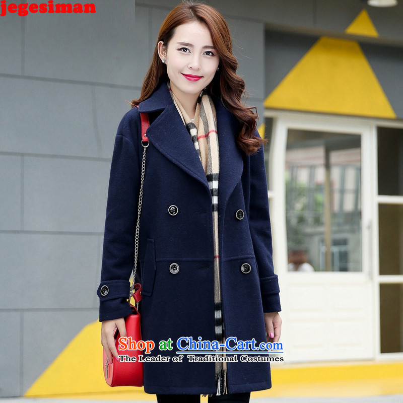 Jegesiman2015 autumn and winter new Korean female coats wild?   Gross Jacket coat? female D10 Navy燤