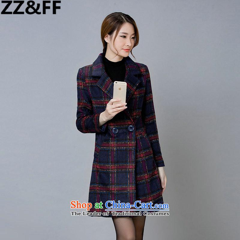 2015 winter clothing new Zz_ff gross? coats that long temperament grid long-sleeved jacket is elegant gross 1666 red checkered燤