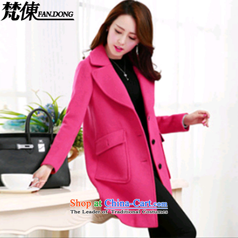 Van Gogh ? autumn 2015 Women's clothes new Korean version in the long hair loose coatXY140?The RedXL