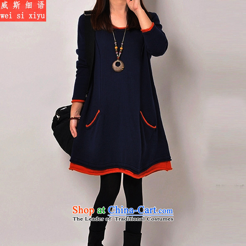 The Korean version of the fine xl female thick mm winter clothing skirt the lint-free video and slender, forming the basis of thick dresses燲XXXL blue