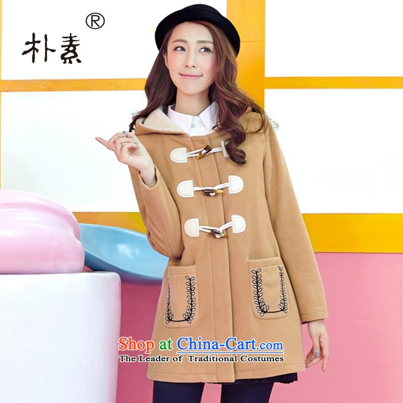 The Korean version of plain preppy girls in 2015 winter long horns Clip Cap Gross Gross?? a wool coat students Jacket Card its?XL