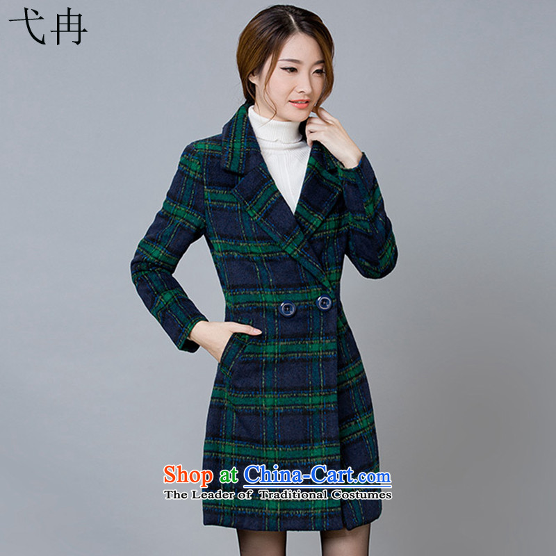Cruise in the autumn and winter 2015 advanced new women in Korean long long-sleeved elegant gross is checked N473 coats The Green Grid燲L