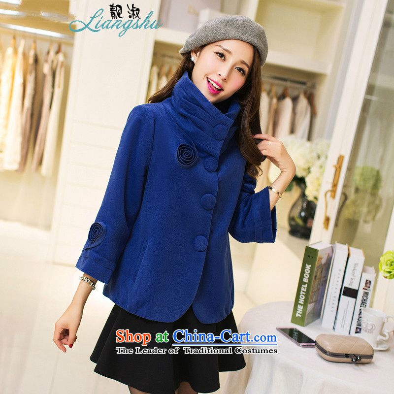Mrs 2015 autumn and winter talks with the new Korean female Sau San collar single row clip hair?? coats of gross jacket cyan聽M