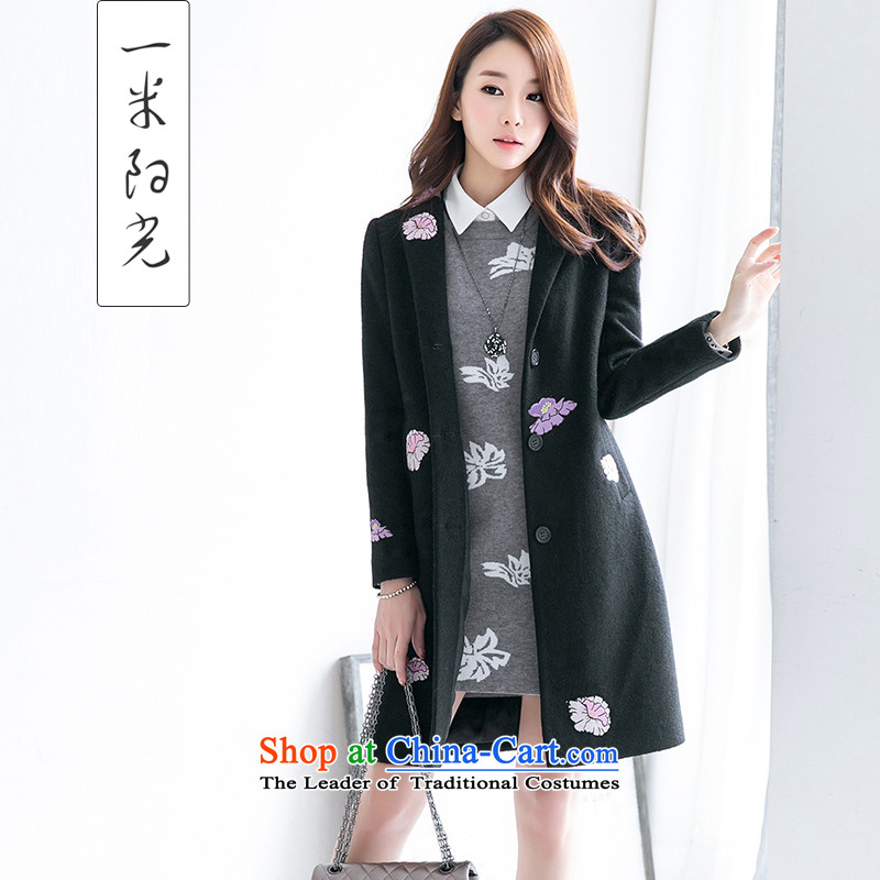 One meter Sunshine聽 2015 Autumn New Fleece Jacket girl won a version in the thick of Sau San long hair black聽XL female coat?