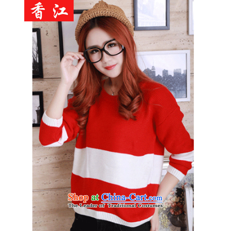Xiang Jiang thick mm autumn large code t-shirt t-shirt thick sister female graphics thin to xl 200 catties thick people sweater girl graphics_ Knitted Shirt 668 thin red large 3XL