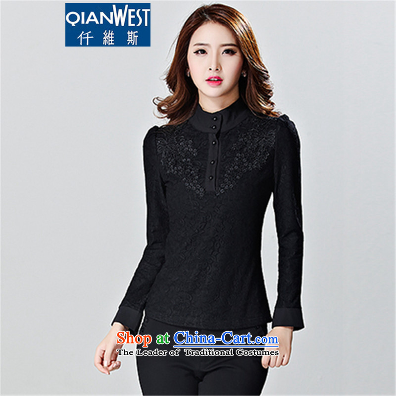 The Scarlet Letter, larger female thick sister T-shirt 2015 winter clothing plus the new Korean lint-free thick black long-sleeved high collar lace shirt, forming the Netherlands 8111 Black 4XL 160-185 recommended weight catty