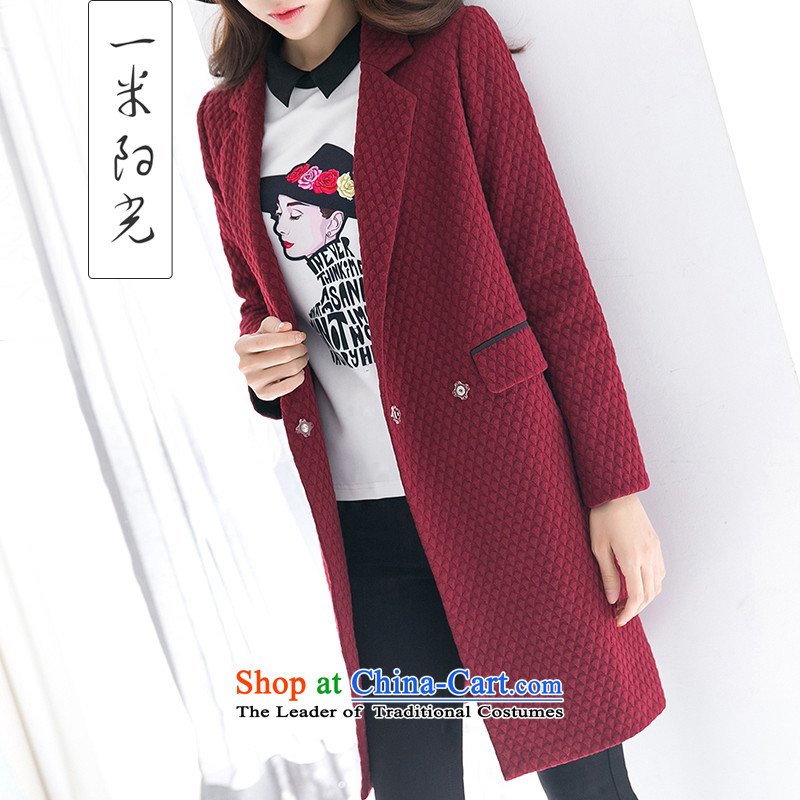One meter Sunshine� 2015 Autumn In New Long Hair Girl Korean jacket?   Cocoon-gross wine red female coat?燤