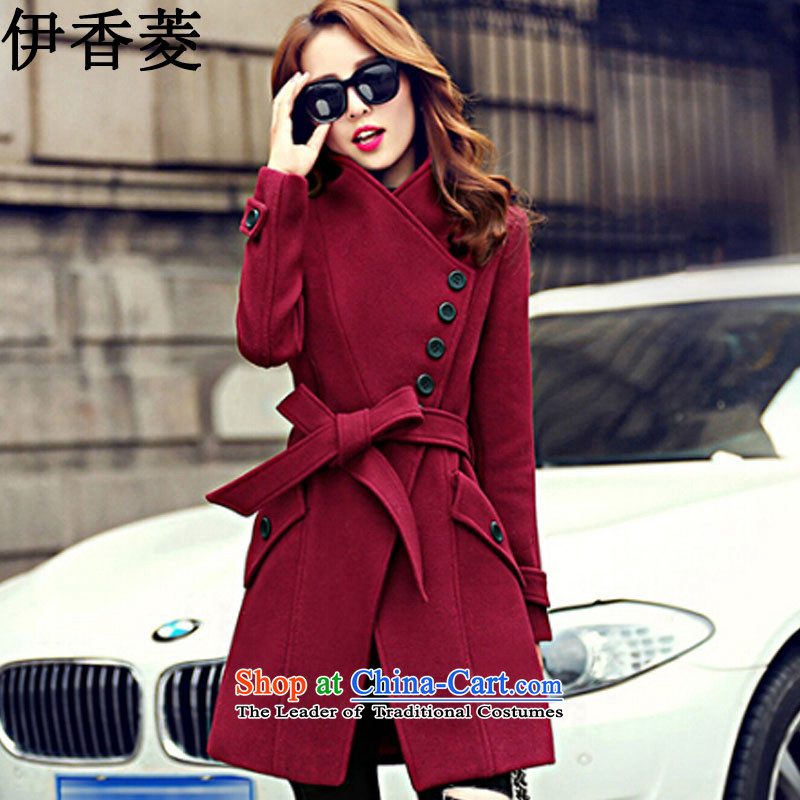Ikago Ling autumn 2015 Women's clothes new Korean Version_ loose. long long-sleeved jacket Y8021 gross? chestnut horses XXL