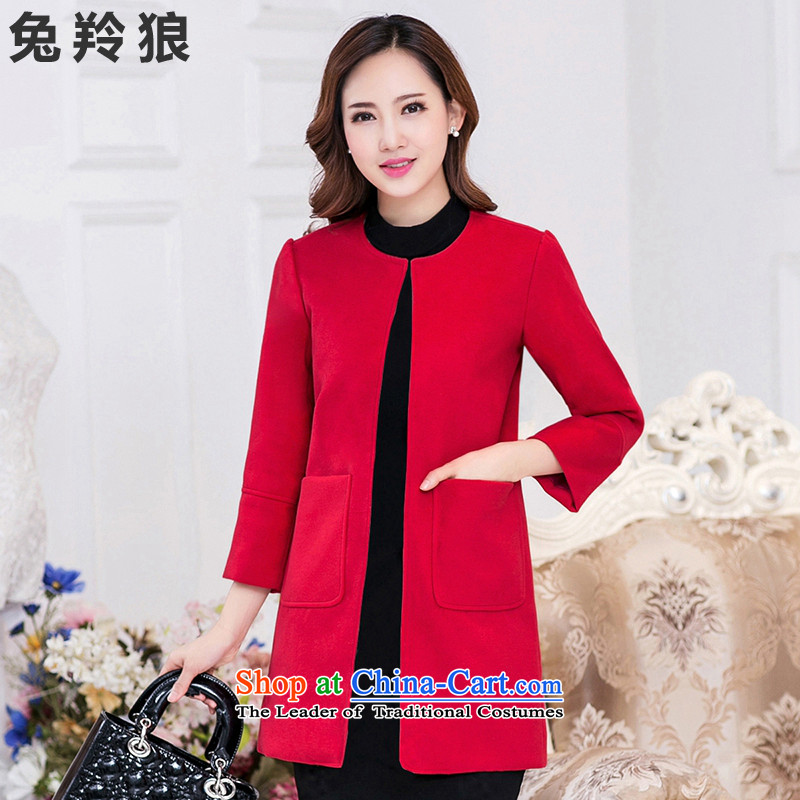Rabbit 2015 new Gazelle Wolf Fall_Winter Collections Korean women's gross girls jacket? long hair a wool coat RED燤