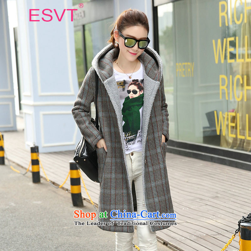 The Korean version of the 2015 Winter ESVT new stylish streaks latticed gross winter coats women? A lapel long-sleeved thick warm in long jacket, female picture color M