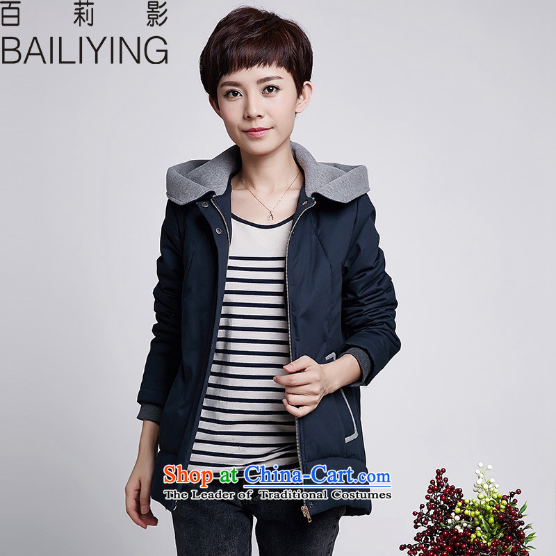 Hundred Li Ying�15 autumn and winter new Korean large cotton robe relaxd warm video thin cotton coat short of Winter Female jackets navy�L- recommendations 160-175 catty