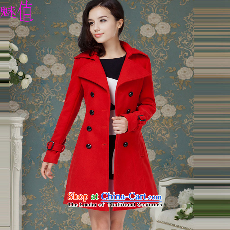 The value of the new 2015 Winter Female luxury red double-equipped with waistband gross coats jacket red燣?