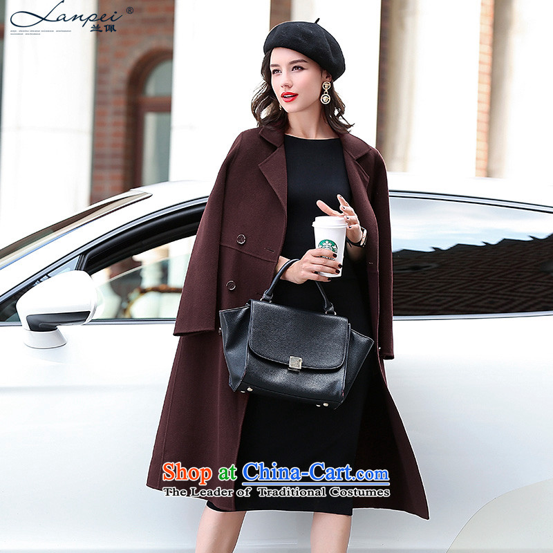 Ho Pui 2015 autumn and winter new two-sided woolen coat, double-long hair? jacket a wool coat female sauce purple聽XXL