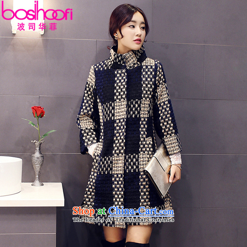 _Philippines 2015 wave autumn and winter load new women's long line scurf collar jacket coat? female gross A8989 navy燣