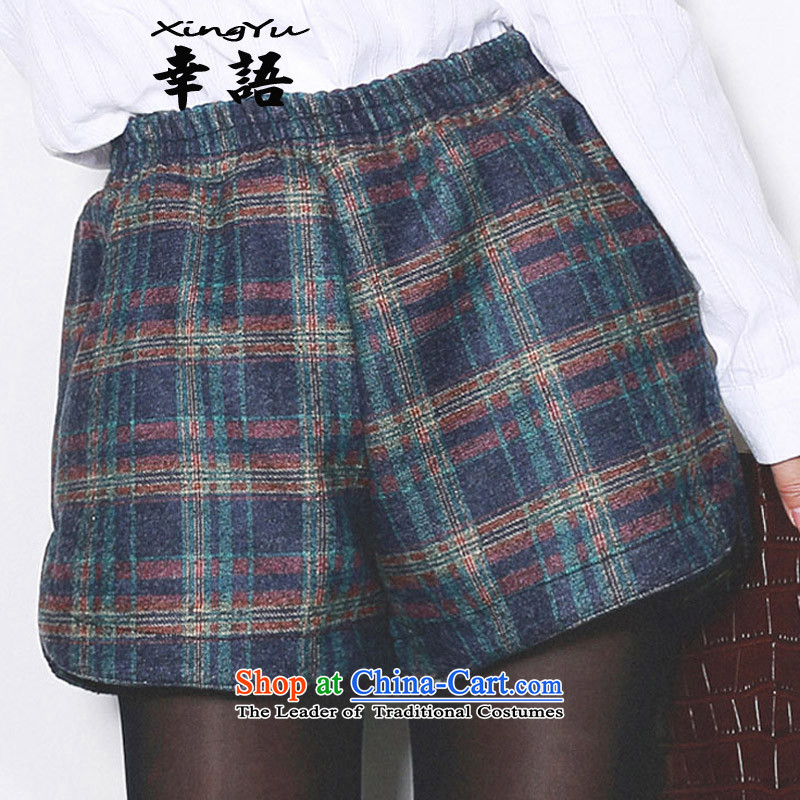 A language code 2015 autumn and winter shorts elastic waist new gross shorts to? XL latticed gross shorts? 5222 blue checked燲XXL recommendations 140-160 characters around 922.747