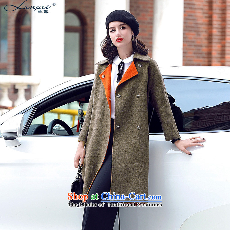 In the autumn of 2015, Pei new replacing duplex cashmere overcoat girl in long hair? wool coat a wool coat light coffee color L