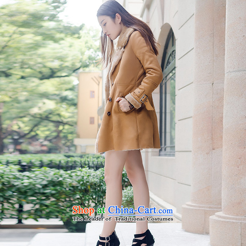 About the New 2015 Atlas Copco Korean big reverse collar in Sau San long jacket with female thickened the lambs Chamois Velvet cloak M0001 KHAKI聽XL, about curley , , , shopping on the Internet
