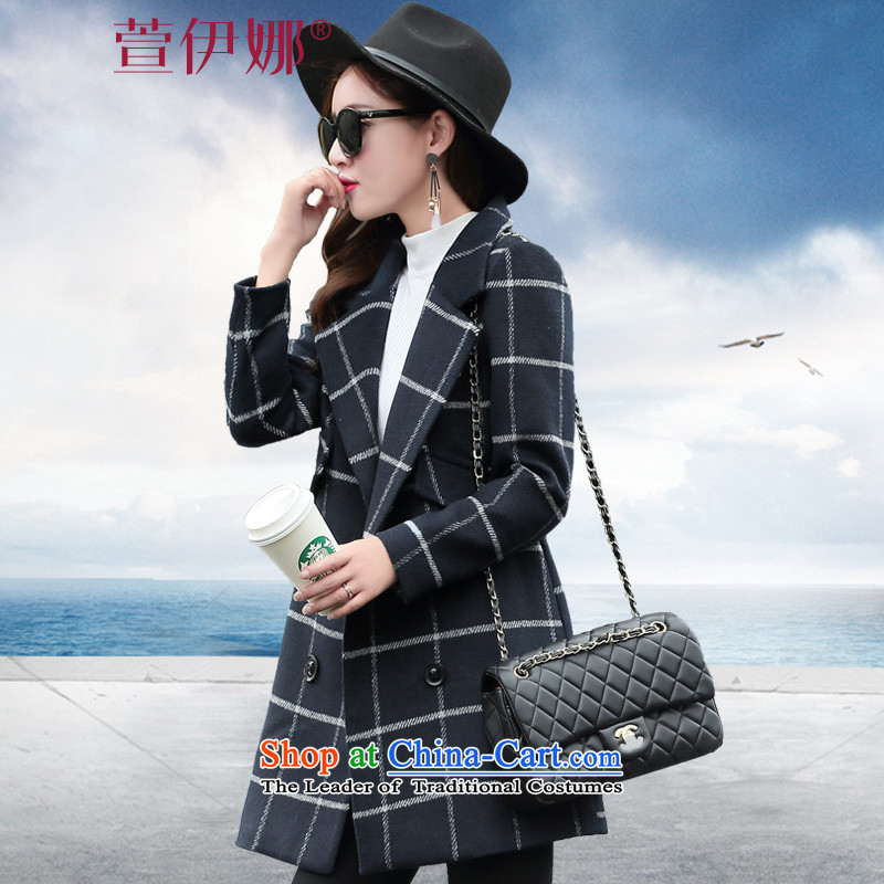 Xuan ina 2015 autumn and winter new a wool coat female Korean version of Sau San long latticed lapel temperament gross flows of female?XX8521 coat??checkered?M
