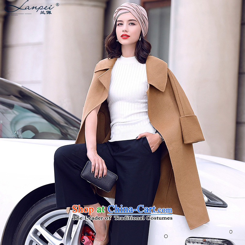 In the autumn of 2015, the new Pei 7 cuff wool double-side a wool coat girl in long hair? jacket and Sau San color燤