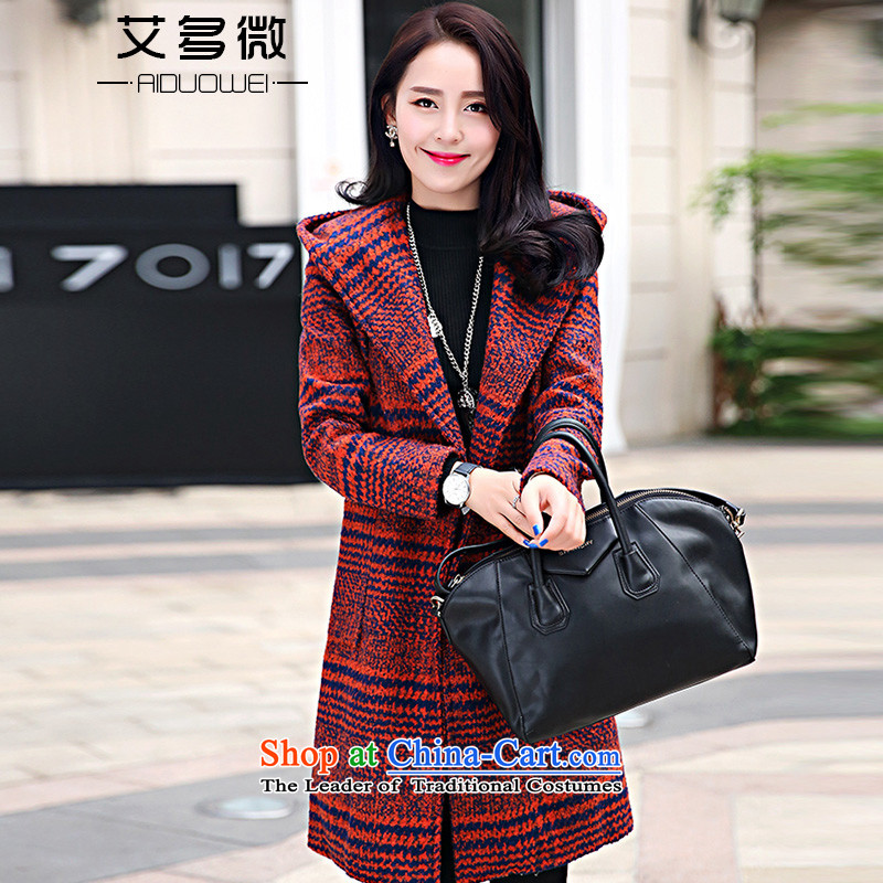 More than HIV micro- 2015 Fall_Winter Collections new Korean female loose video thin hair? coats that long thick hair? jacket female red L