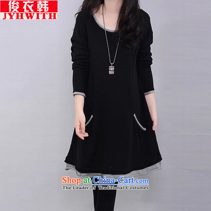 Mr James TIEN Yi Won extra girl for winter clothes to wear the increase female very casual thick girls' Graphics thin, 200 catties thick mm autumn and winter dresses thick Tien larger black XXL suitable for 135 to 150 catties of Fat Fat