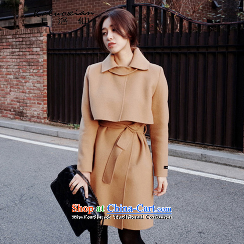 Carlo cents聽2015 new Korean female coats of Sau San Mao? autumn and winter jackets in female long聽5160聽and color聽L