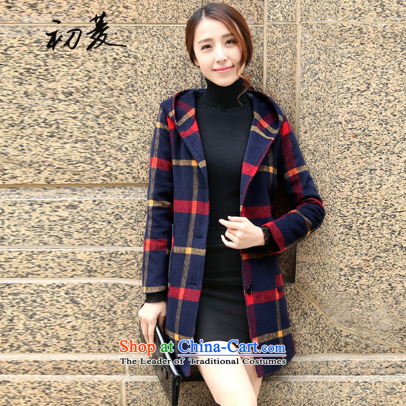 The early autumn and winter latticed gross valin jacket Korean version of this long and cotton wool cap a simple and stylish coat female Red Yellow聽XL