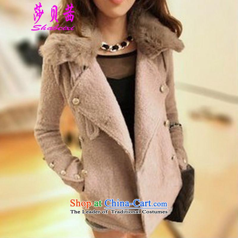 Elizabeth Bessie 2015 winter clothing new Korean and trendy Sau San small Maomao code short of a wool coat jacket pink燤