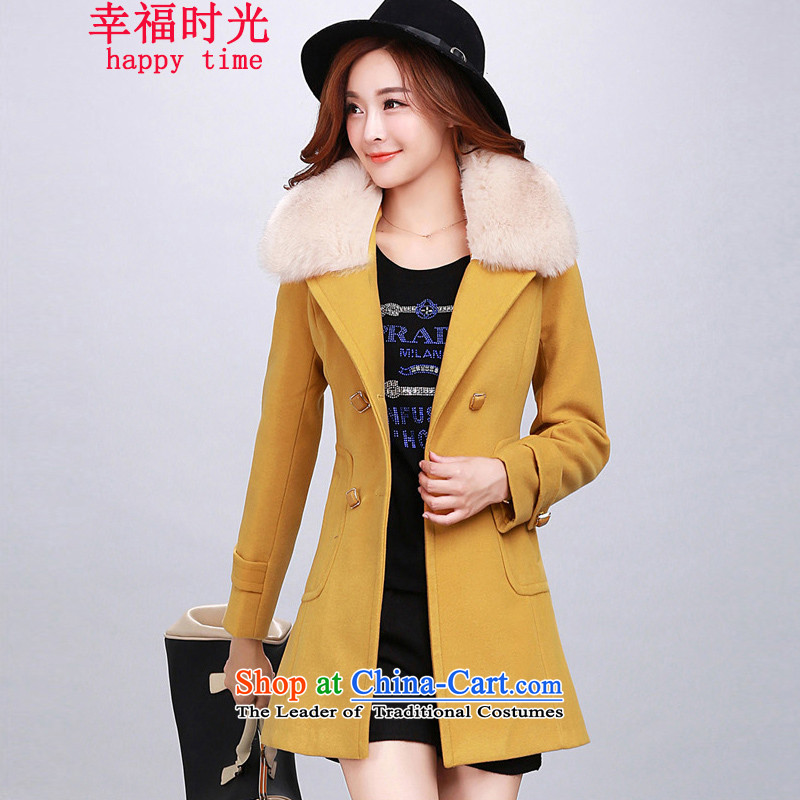 Happy Times _发南美州之夜_ 2015 autumn and winter new women's new Korean warm and stylish Sau San cashmere overcoat jacket gross temperament? yellow?L_96-106 catties_