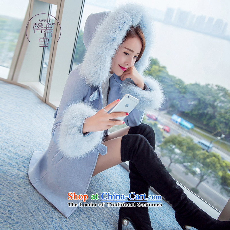 The fragrant incense snow fall and winter 2015 new products Sau San video thin coat cap in the amount so long Korean a wool coat female thick coat Blue聽M