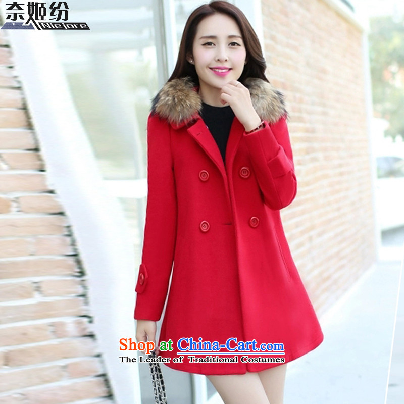 The Suu Kyi as 2015 autumn and winter new gross?   in the Korean version of the jacket long hair? a wool coat female 817.8119 trillion noble red燬