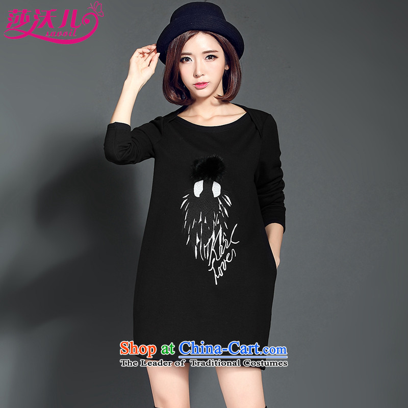Elisabeth Kosovo children savoil autumn and winter large decorated in Korean girl in long long-sleeved round-neck collar A skirt the lint-free thick video thin dresses?D2082??XXXL black