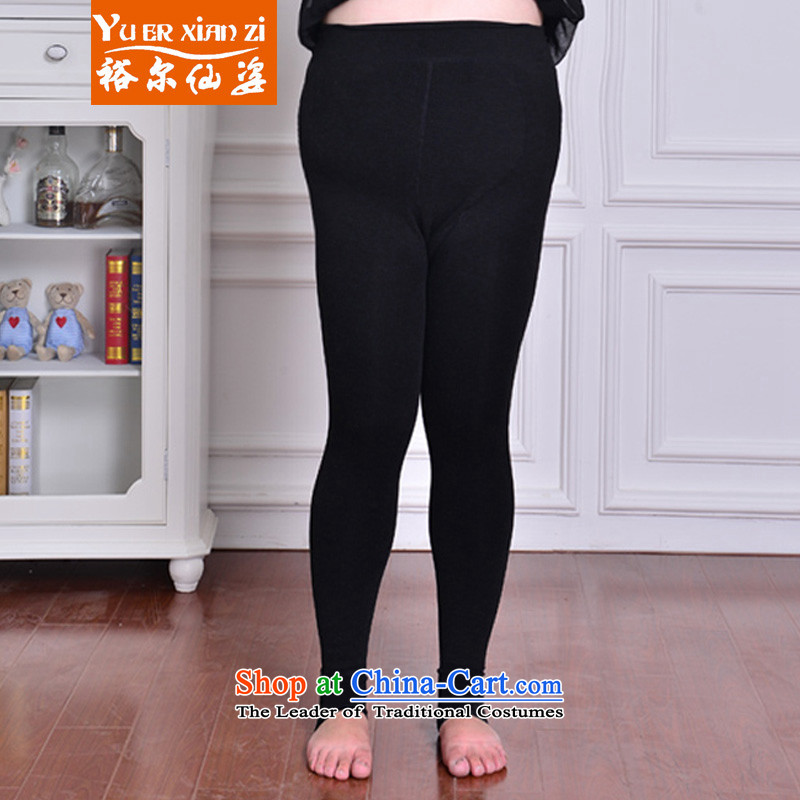 Yu's sin for autumn and winter New Plus 7 trousers, forming the lint-free thick colorful cotton 200 catties thick MM to increase the number of female high waist video thin warm Bonfrere looked as casual pure black large elastic will recommend that you 120