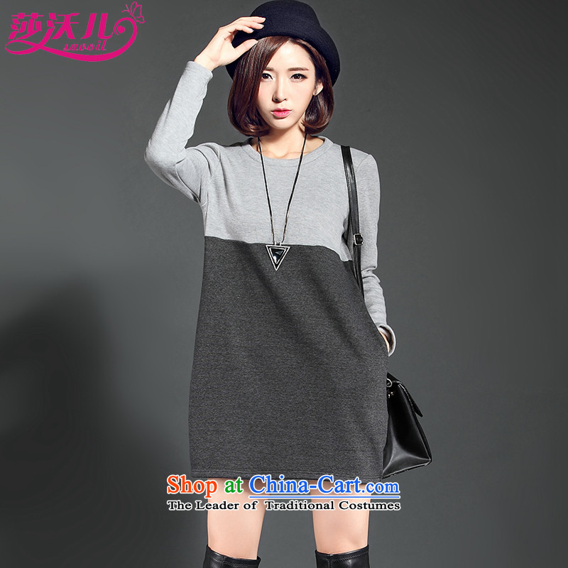 Elisabeth Kosovo children savoil 2015 autumn and winter won with lint-free thick large forming the Sau San shirt leisure wear skirts stitching dresses D2083 gray?XXL