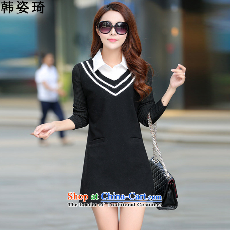 Gigi Lai Ki 2015 Autumn won with new larger female thick MM loose video thin dresses 950 Black XXXL