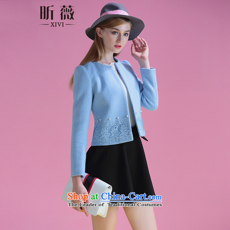 Ms Audrey Eu xivi xin small wind jacket is Heung Gross 2015 winter new stylish women short of thick long-sleeved round-neck collar Y554170 coat, Blue燤?