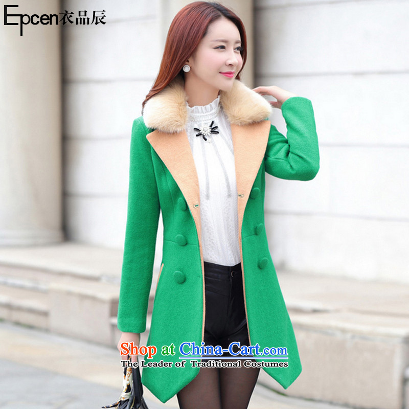 Yi Jin _epcen No. 2015_, autumn and winter new products in the women's long Korean gross overcoats GD9978? Green M