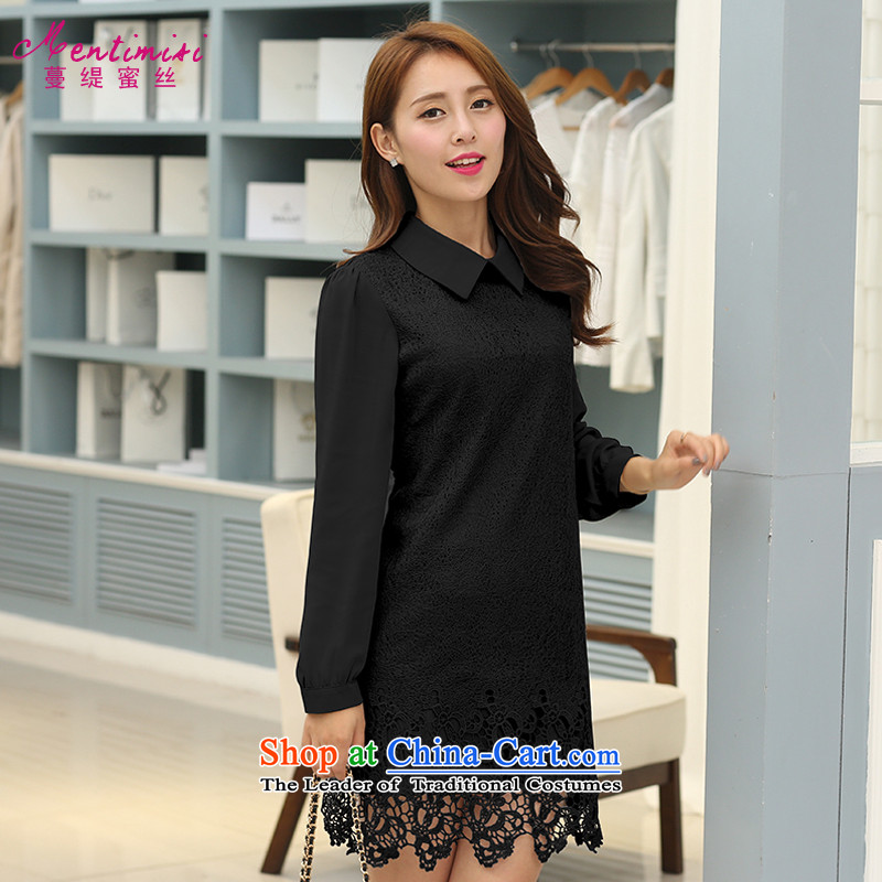 Overgrown Tomb economy honey population to increase women's code thick mm2015 autumn and winter new products with long-sleeved lace mother chiffon dressesS1715black5XL around 922.747 195-205