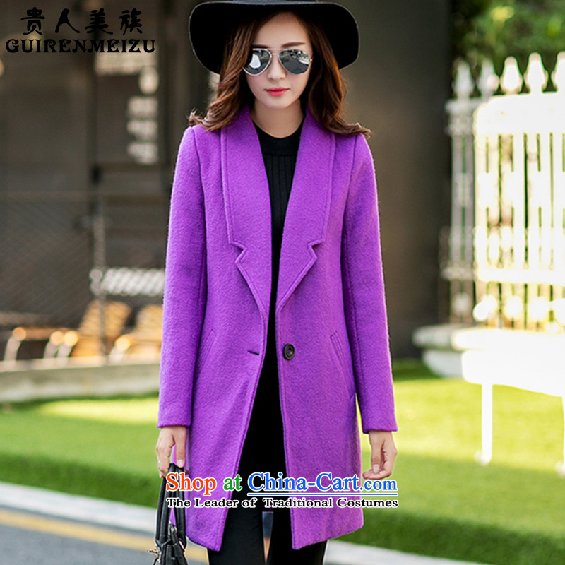 Noblesse oblige the Ami gross? 2015 autumn and winter coats female new stylish medium to long term, a wool coat jacket female N321 PURPLE燣