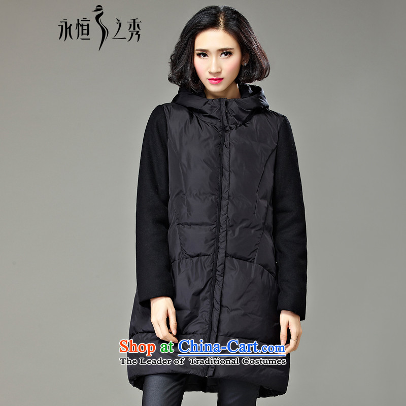 The Eternal Soo-to increase women's code cotton coat jackets for winter 2015 new product expertise in sister long length MM thick, Hin thin stripes jacket Ms. catty 200 Black聽4XL