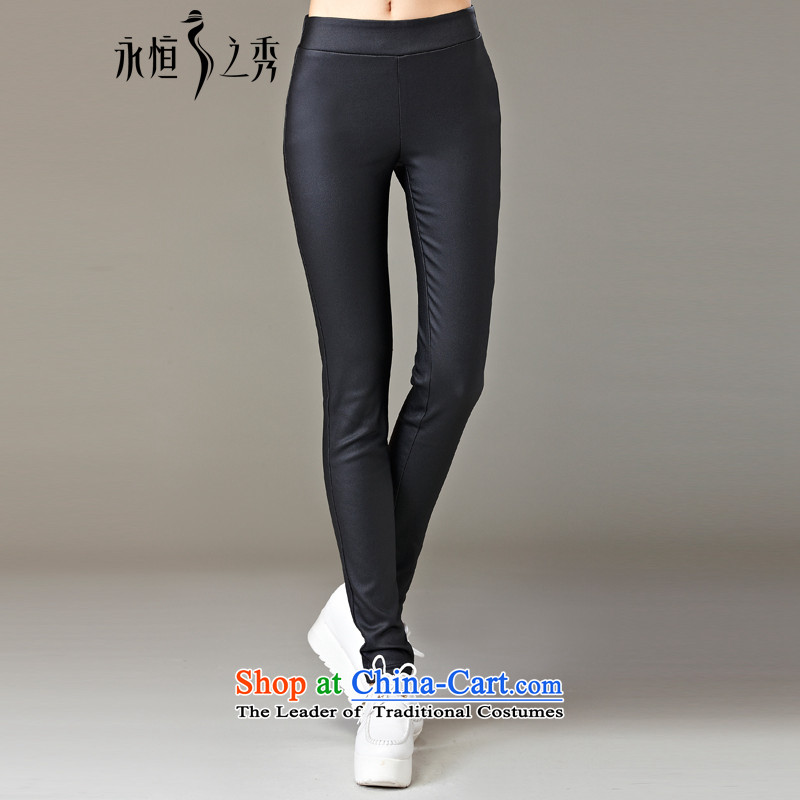 The Eternal Soo-to increase women's code 200 catties Pants length pants, forming the 2015 Fall_Winter Collections new expertise mm sister Korean people video thin, thick solid black trousers 4XL