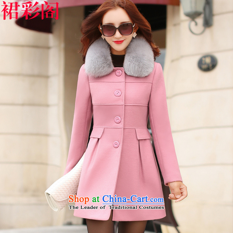 The cloak-thick winter female? skirt Multimedia Room 2015 Korean version of the new gross?   Gross? female jacket coat in long 5048 pink XL